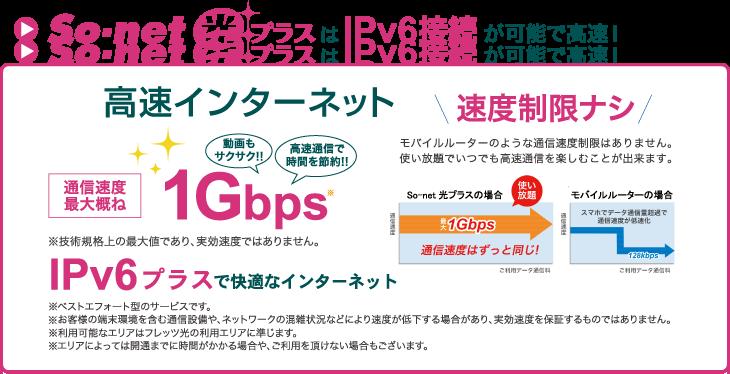 So-net光プラスはIPv6接続が可能で高速